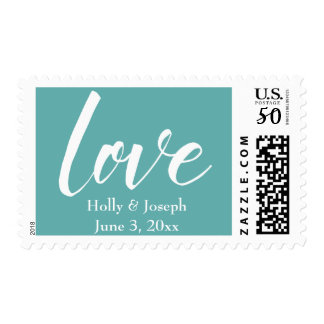 "White on Seafoam ""love"" 18a, Personalized Wedding Postage"