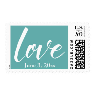 "White on Seafoam ""love"" 18a, with Wedding Date Postage"