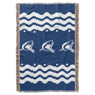 Beach Themed WHITE on shark SEA HORSE   coastal living Throw Blanket