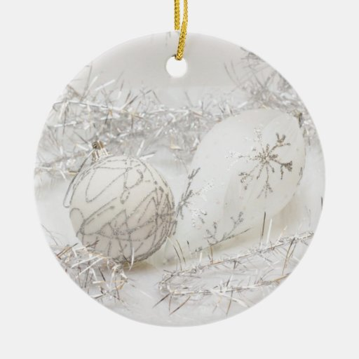 White on silver christmas ornament