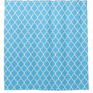 White on Sky Blue Quatrefoil Custom Background Shower Curtain