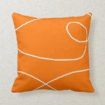 White on Tangerine Throw Pillow