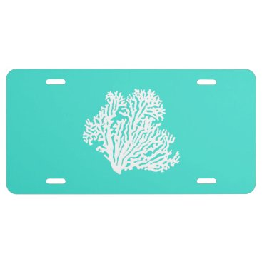 Beach Themed White On Turquoise Coastal Decor Coral License Plate