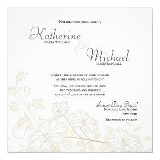 "White on White Floral Wedding Invitations 5.25"" Square Invitation Card"