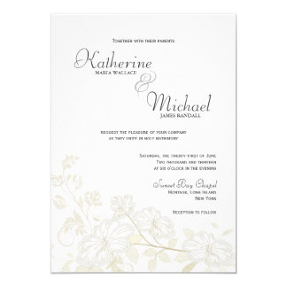 White on White Floral Wedding Invitations