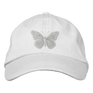 White on White Monarch Butterfly Embroidered Baseball Hat