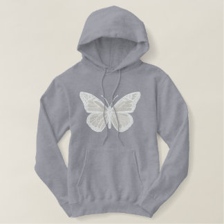 White on White Monarch Butterfly Embroidery Embroidered Hoodie