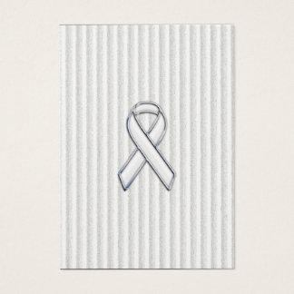 White on White Ribbon Awareness Stripes Business Card