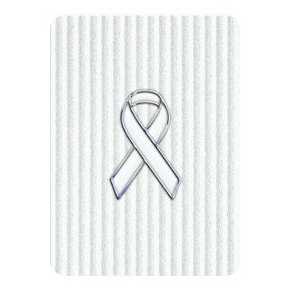 White on White Ribbon Awareness Stripes Card