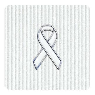 White on White Ribbon Awareness Stripes Invitation