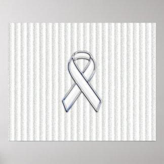 White on White Ribbon Awareness Stripes Poster