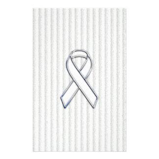 White on White Ribbon Awareness Stripes Stationery