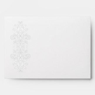 White on White Scroll Edge Announcemnt Envelope