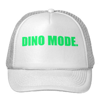 White on White Trucker Hat w Green Dino Mode