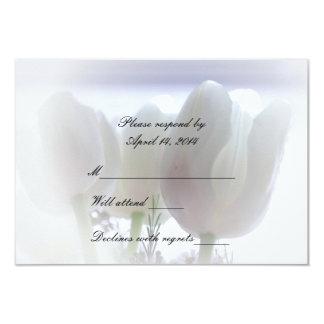 White on White Tulips RSVP Card