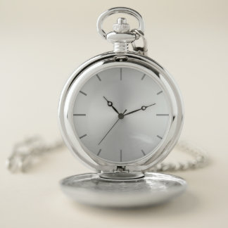 White Opalescent Steel Dial Pocket Watch