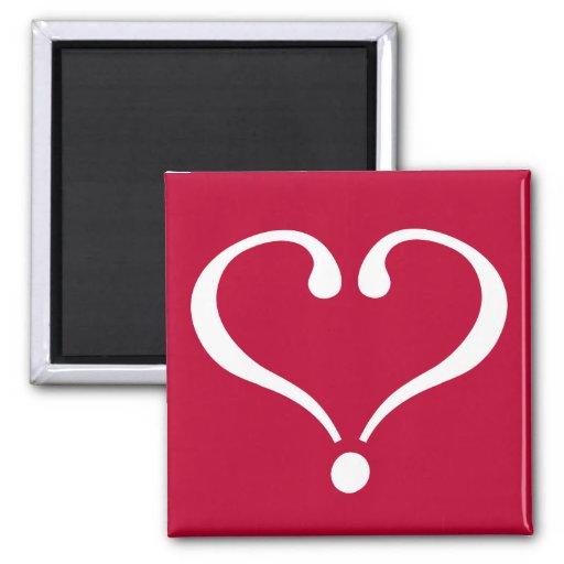 White open heart in red of love on Valentine's Day Imanes De Nevera