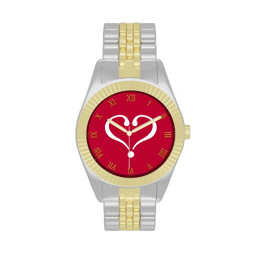White open heart in red of love on Valentine's Day Relojes De Pulsera