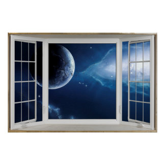 White Open Window Illusion of the Universe Poster