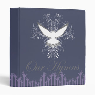 White Open Winged Dove with Open Hands Our Hymns   3 Ring Binders