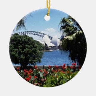 White Opera House in background, Sydney, Australia Double-Sided Ceramic Round Christmas Ornament