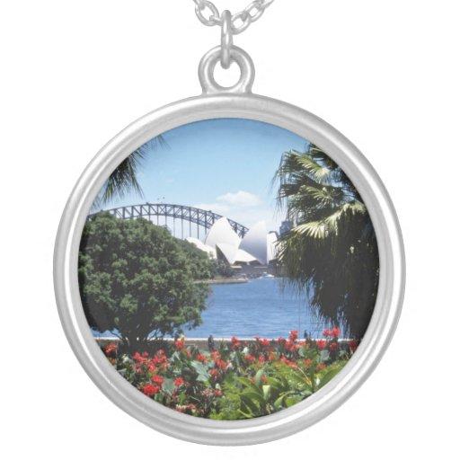 White Opera House in background, Sydney, Australia Round Pendant Necklace