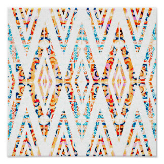 White Orange and Blue Tribal Geomeetric Pattern Poster
