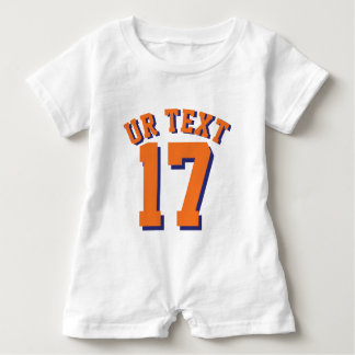 White & Orange Baby | Sports Jersey Design Baby Romper