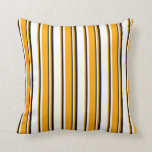 [ Thumbnail: White, Orange & Black Colored Pattern Throw Pillow ]