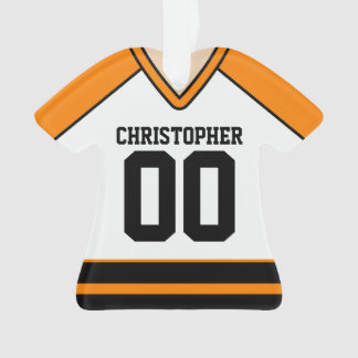 White/Orange/Black Custom Hockey Jersey Ornament