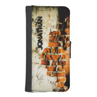 White orange Broken brick wall + your name iPhone 5 Wallet Cases