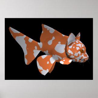 White-Orange Catfish Print