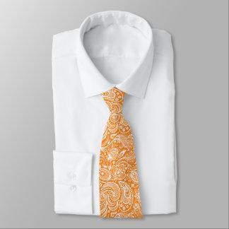 White & Orange Floral Paisley Damasks Pattern Neck Tie