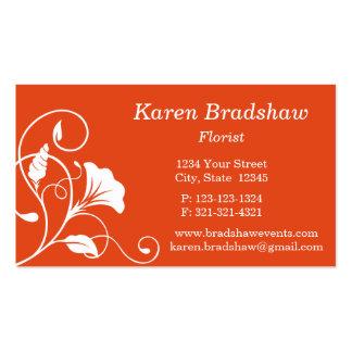 White & Orange Floral Vines Business Card