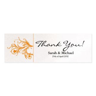 White & orange floral Wedding favor Gift tag Mini Business Card