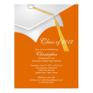 White Orange Grad Cap Graduation Party Invitation Postcard