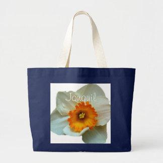 White Orange Jonquil Large Tote Bag