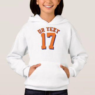 White & Orange Kids | Sports Jersey Design Hoodie