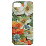 White Orange Poppies on Brown Floral iPhone Case iPhone 5 Cases
