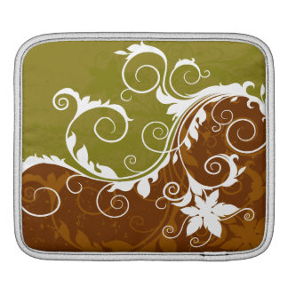 White Orange Rust Floral Grunge Sleeve For iPads
