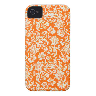 White & Orange Vintage Floral Damask iPhone 4 Cover