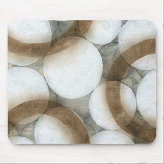 White Orbs & Brown Circles Mouse Pad