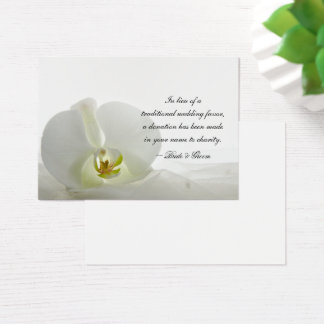 White Orchid and Veil Wedding Charity Favor Card