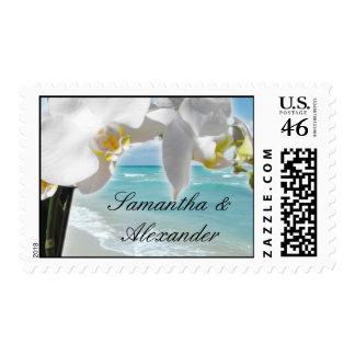 White Orchid , Aqua Beach Postage