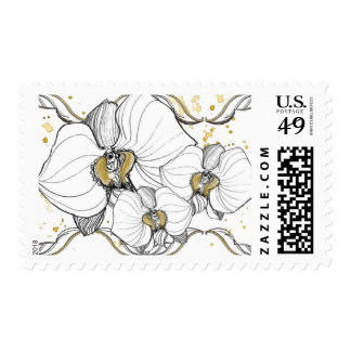 White Orchid Art Deco Stamp