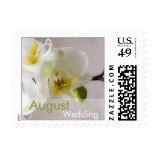 White Orchid August Wedding Stamp