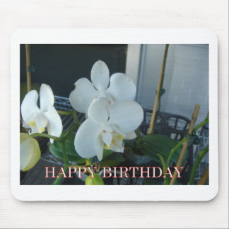 White orchid birthday greeting mouse pad