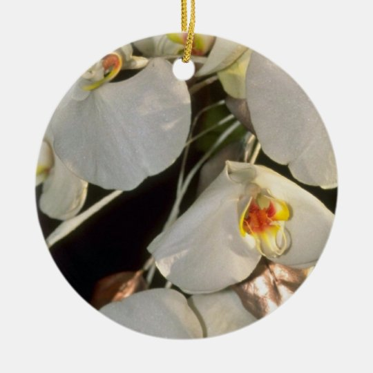 white Orchid bridal bouquet - Phalaenopsis flowers Ceramic Ornament