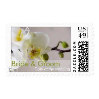 White Orchid Bride & Groom Stamp