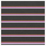 [ Thumbnail: White, Orchid, Brown & Black Stripes Fabric ]